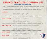 Spring Sport Tryouts Begin Next Week!