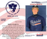 Patriots Baseball announces Athlete of the Week March 21st