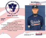 Patriots Baseball announces Athlete of the Week for March 21st
