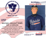 Patriots Baseball announces Athlete of the Week for 4/4