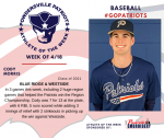 Patriots Baseball announces Athlete of the Week for 4/18