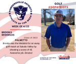 Patriots Golf announces Athlete of the Week for 4/25