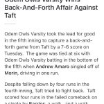 Odem High School Varsity Baseball beat Taft High School 7-6