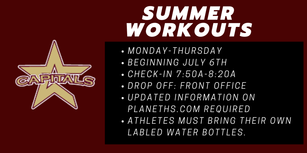 Summer Workouts (Phase One) beginning July 6th.