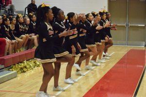 Cheerleaders at Varsity Girls Basketball vs Blake HS 09Dec2016