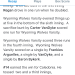 Wyoming High School Varsity Baseball falls to Caledonia High School 7-5