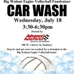 July 18 BWHS Volleyball Fundraiser CAR WASH from 3:30 to 6:30 PM