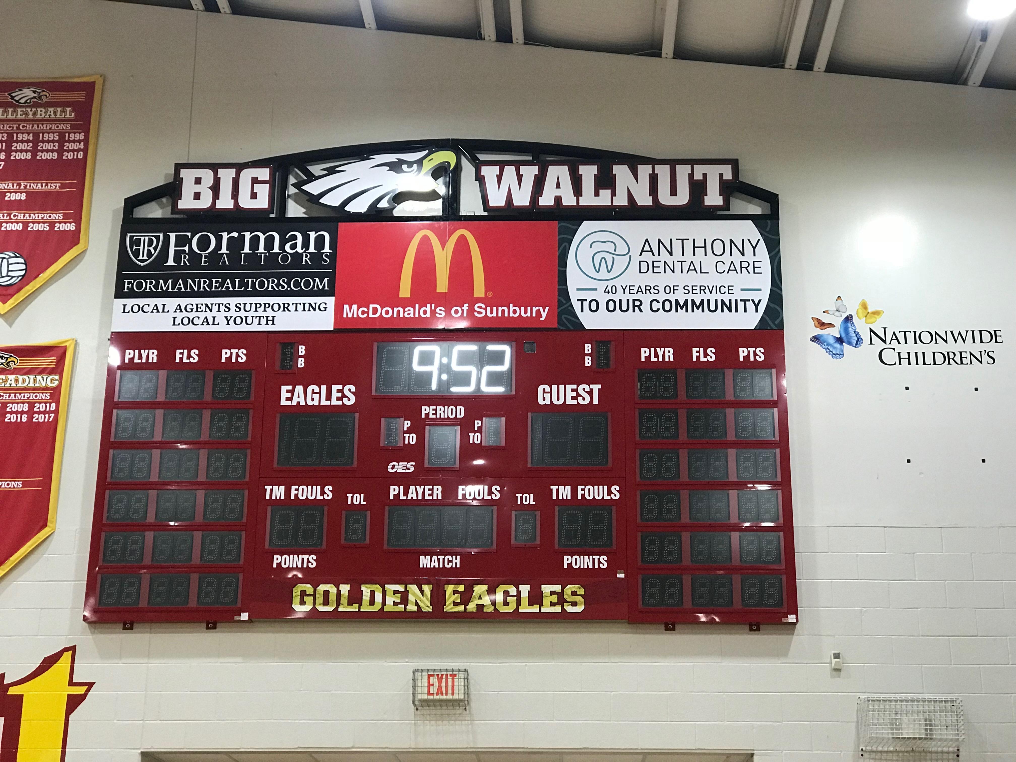 Big Walnut HS Gymnasium – New Scoreboards – Sponsors