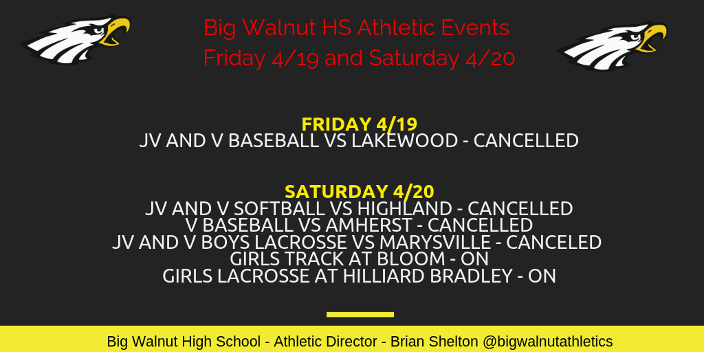BWHS Athletic Events IMPORTANT Update for Fri 4/19 and Sat 4/20