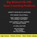 Big Walnut HS/MS Coaching Openings