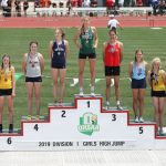State Podium for Kaley Rammelsberg, ties for 7th place in the State Track and Field Championship!