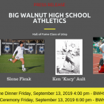 Big Walnut Athletics – Hall of Fame Inductees – Class of 2019 – Press Release