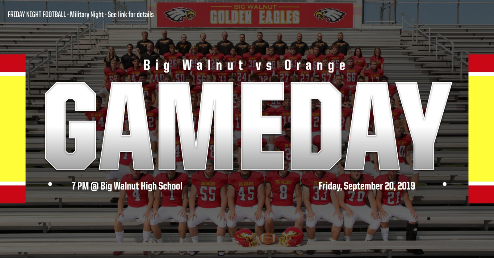 Friday Night Football – Big Walnut vs Orange – Military Night – See link for details