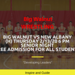 Big Walnut Wrestling vs New Albany – Senior Night – OCC