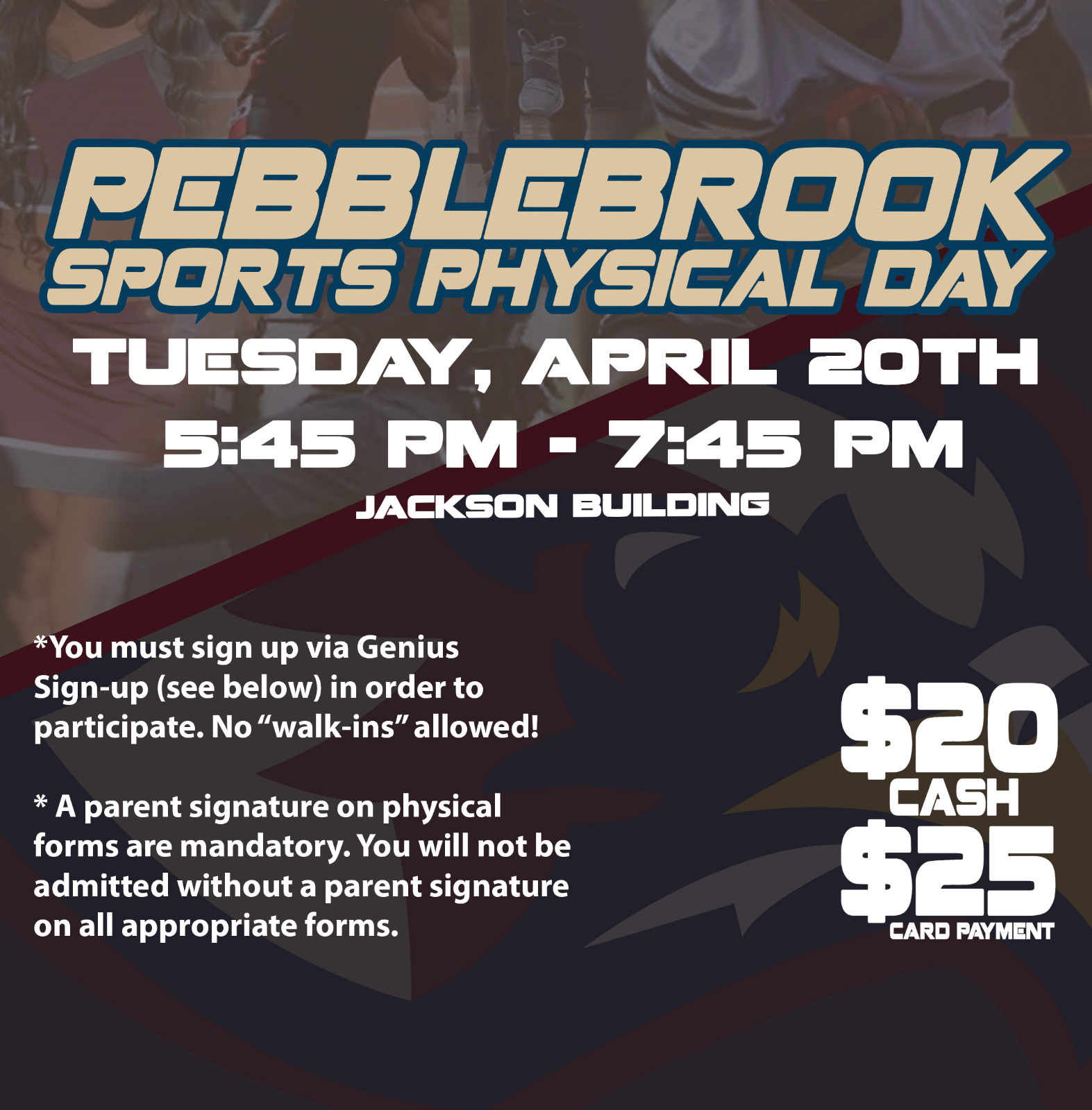 Physicals Day Information!! 4/20