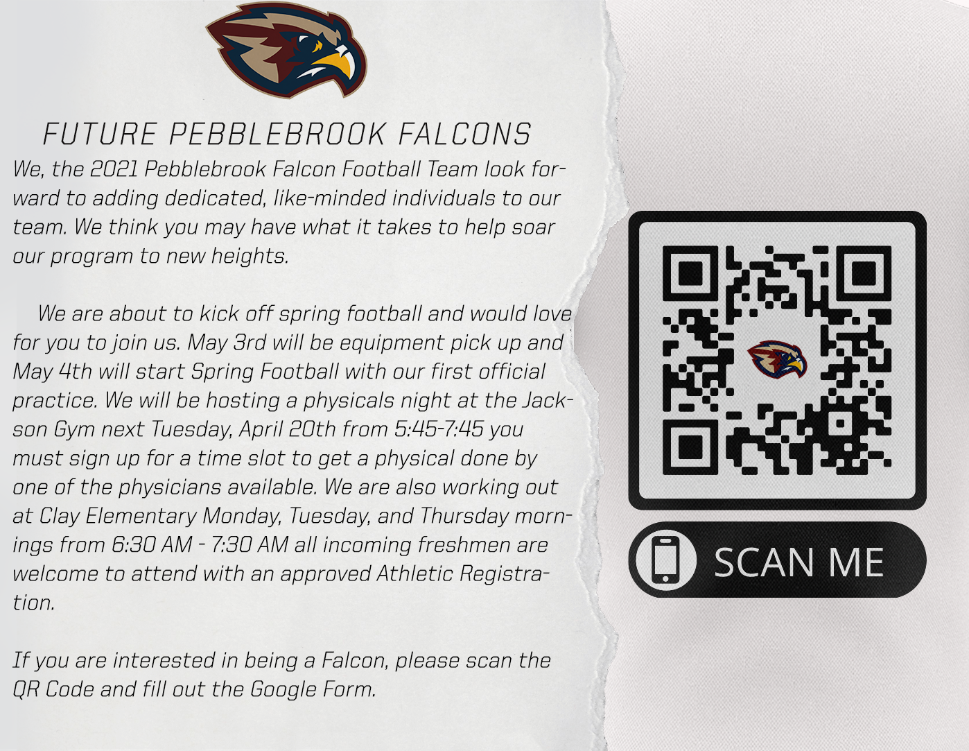 Spring Football – Soar with the Falcons!