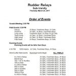 Itinerary for Rudder Relays Thursday, March 23