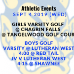 Athletic Events 9/4/19