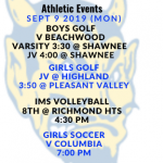 Athletic Events 9/9/19