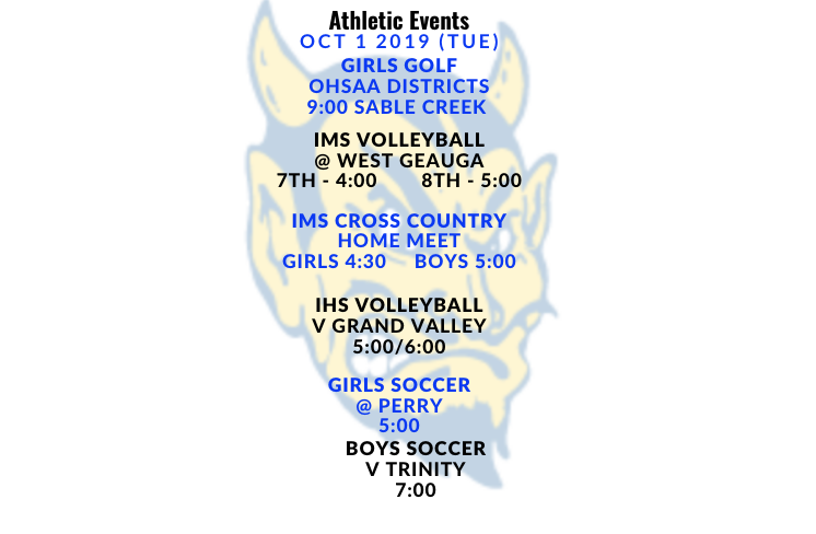 Athletic Events Oct 1 2019