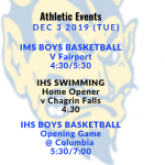Athletic Events 12/3/19