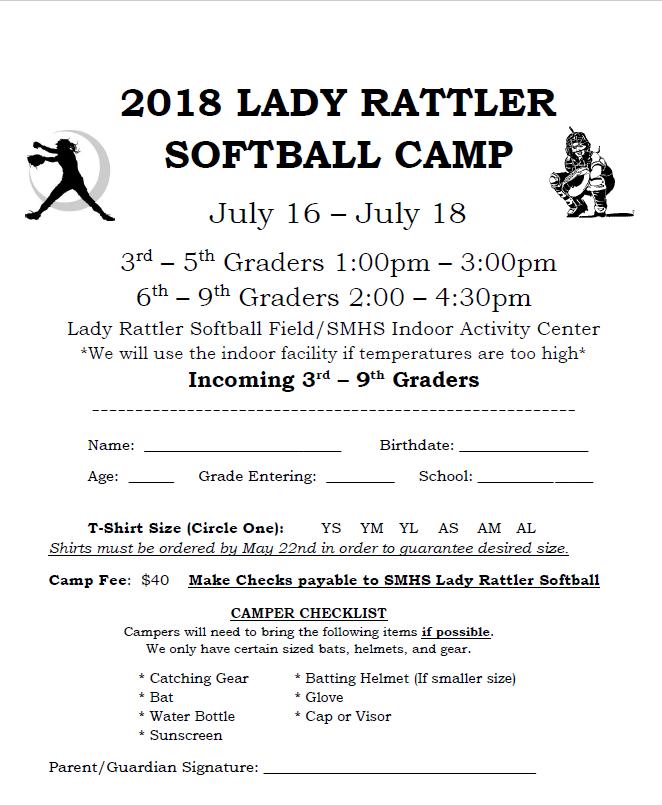 Lady Rattler Softball Camp July 16-18