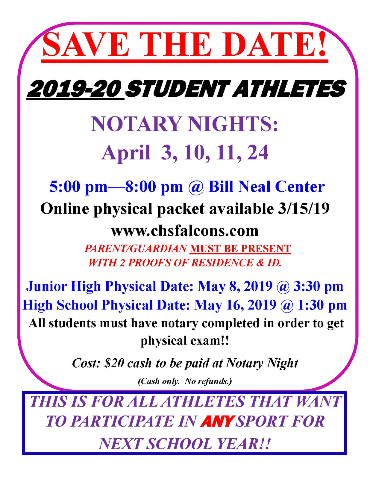 Save the Date! 2019-20 Notary & Physical Time