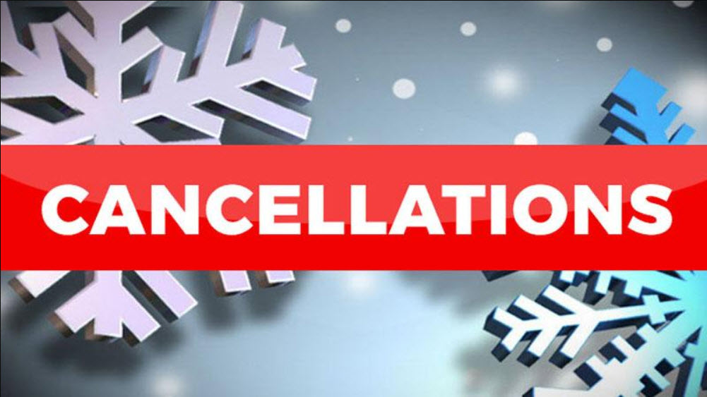 Athletic Activity Cancellations Feb. 15 & 16