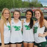 EHS pole vaulters left to right: Riley Rutland, Anna Mitchell, Anna Ogawa and Marley