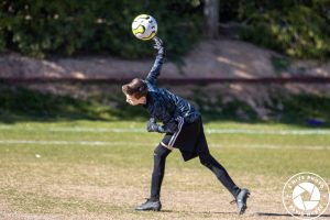 goalie throwing soccer ball