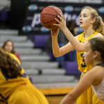 girl shooting basketball free throw