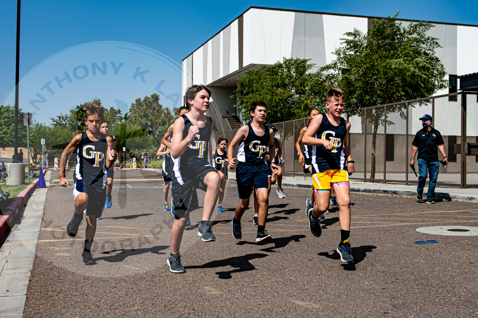 students running cross country race