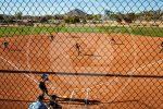high wide shot of softball field