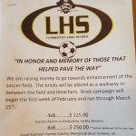 Fundraiser to Enhance Soccer Field (Buy a brick in memory of…)