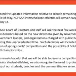 Latest from NCHSAA about State Championship and Spring Sports