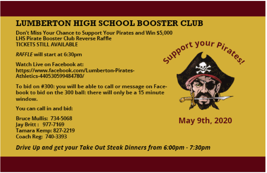 Don't Miss Your Chance to Win up to $5,000! Lumberton Pirates Athletic Booster Club Raffle is Saturday. There is still time to purchase a ticket!