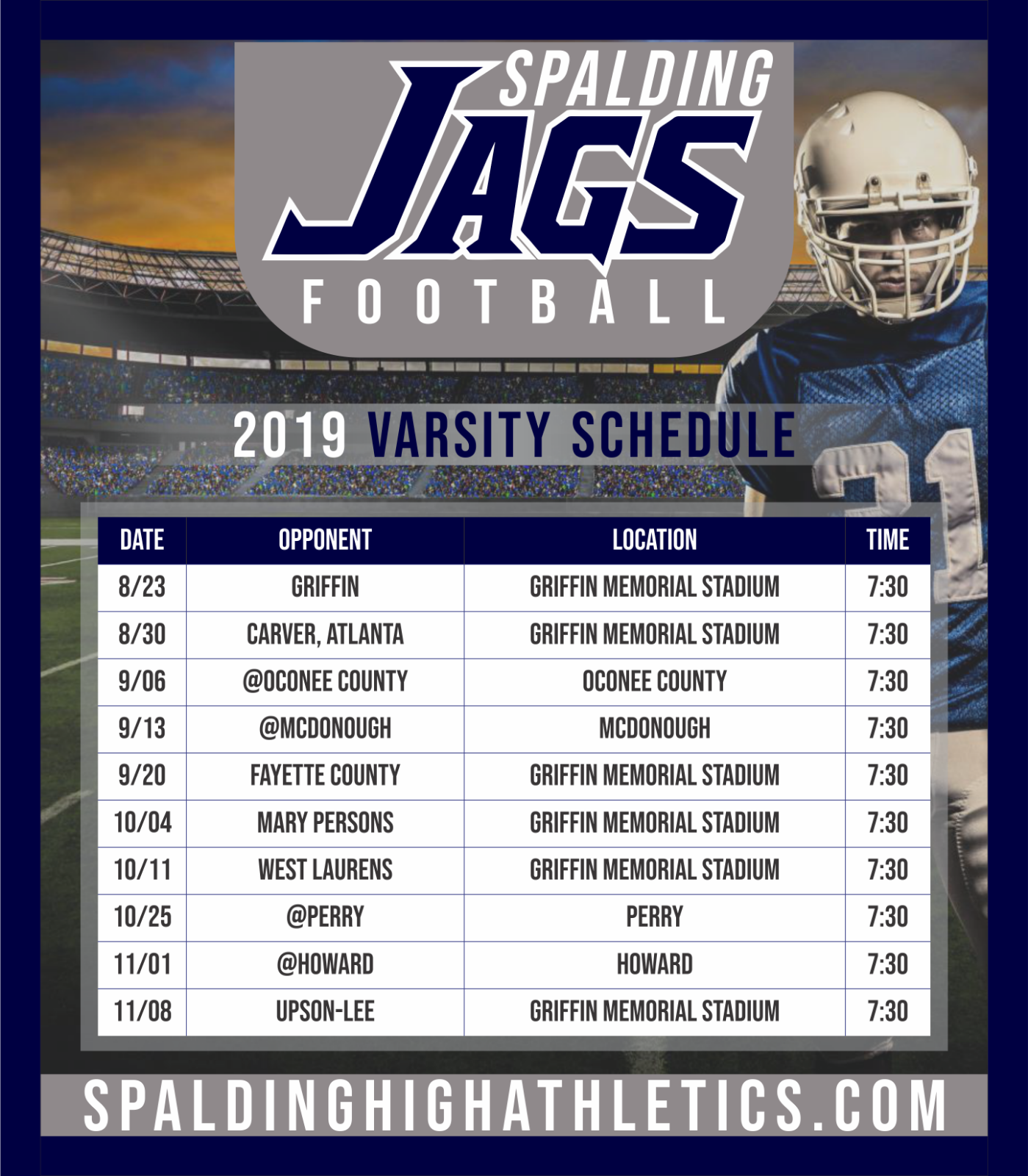 2019 Varsity Football Schedule