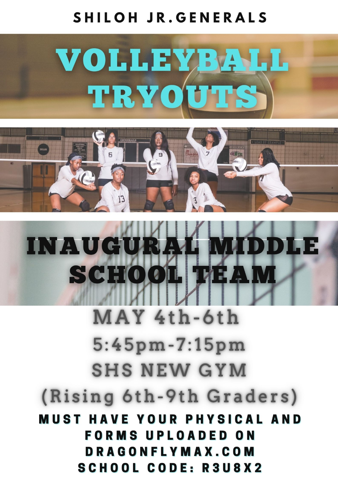 Volleyball Tryout Information for Rising 6th-9th graders