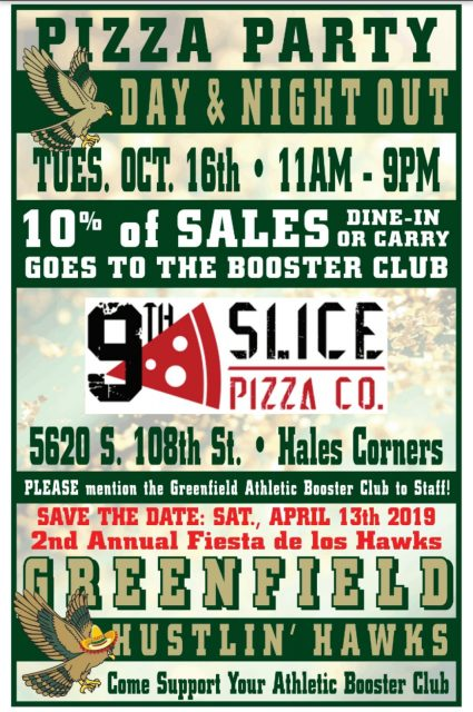 Everyone Loves Pizza! Support Athletic Booster Club – Oct. 16 at 9th Slice Pizza