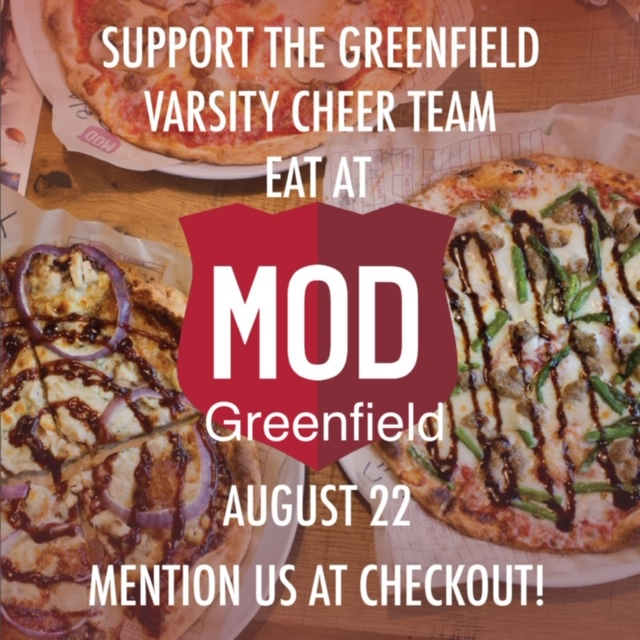 Eat at MOD Pizza on Aug. 22 & Support GHS Cheer!!!