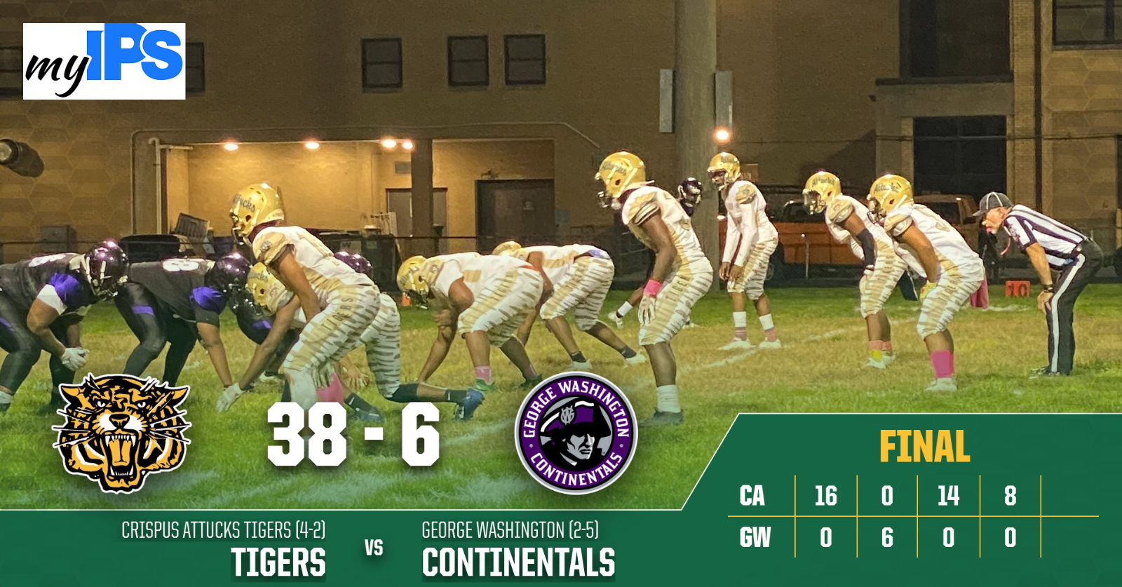 Boys Varsity Football beats George Washington Community 38 – 6