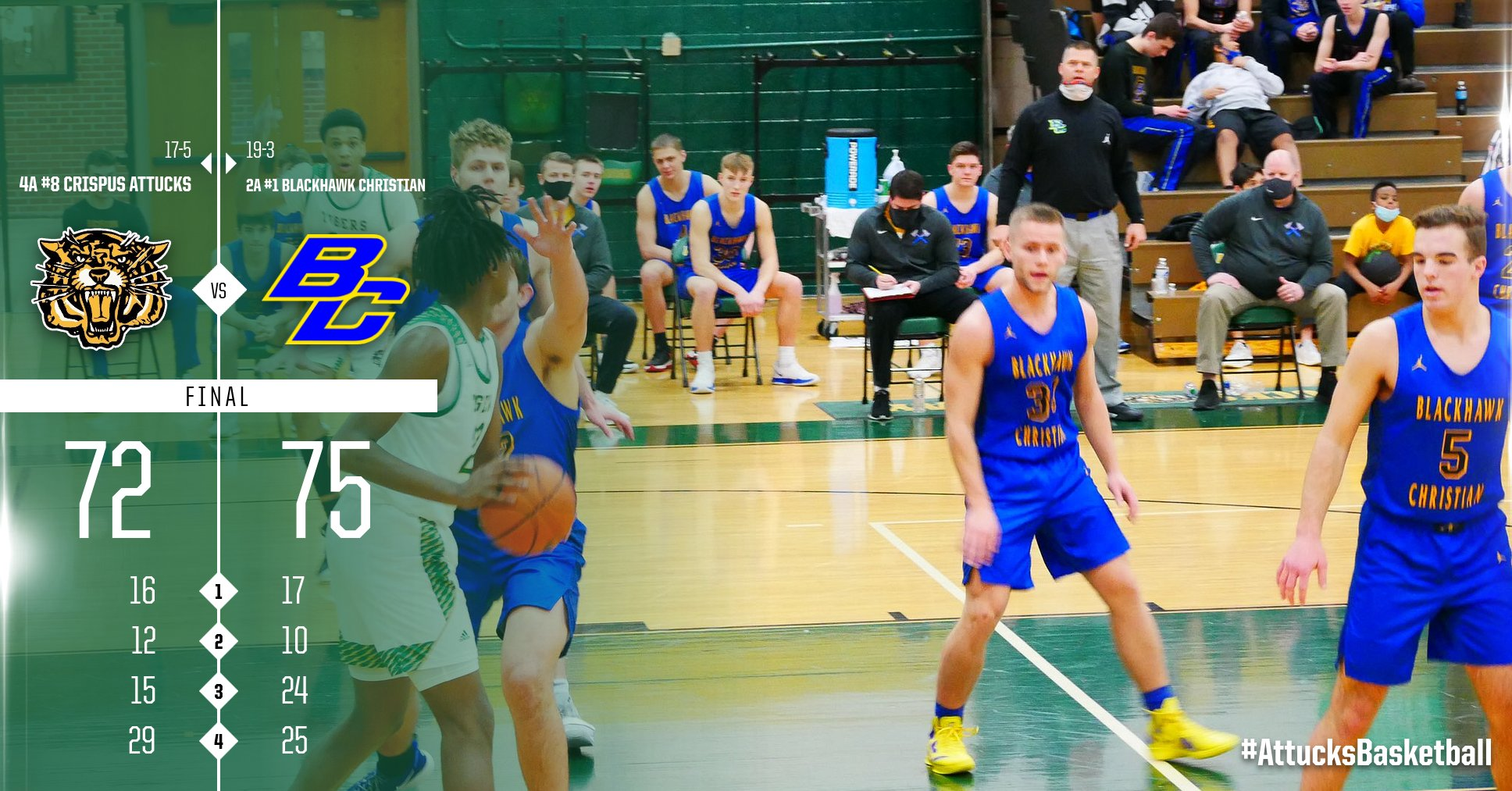 Boys Varsity Basketball falls to Blackhawk Christian Jr-Sr HS 75 – 72