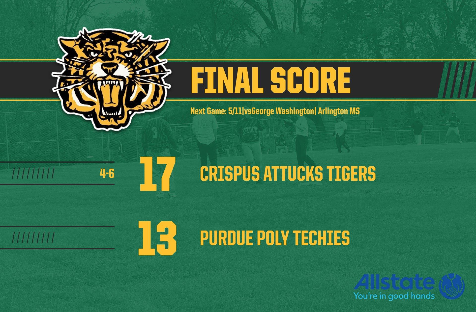 Boys Varsity Baseball beats Purdue Polytechnic 17 – 13