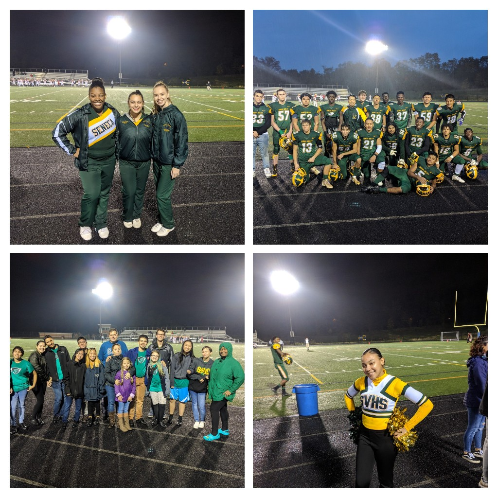 Senior Football, Cheer, Poms and Band recognized.