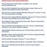 Spring Sports Interest Meetings