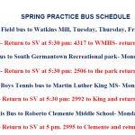 Spring 2019-Practice Bus Schedule-Bus numbers