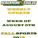 Weekly Update-Week of August 5th- Cross Country Coach needed- Fall sports starts in 7 Days-Register now!