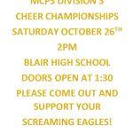 MCPS Division 3 Cheer Championships- Saturday, October 26th at Blair HS 2 PM