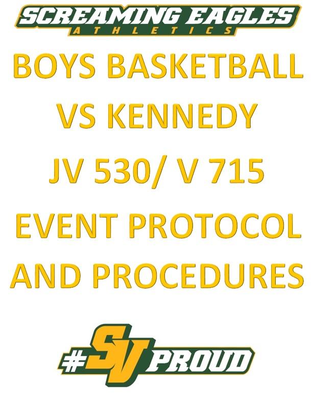 Boys Basketball Home opener vs Kennedy- JV 5:30/ V 7:15- Doors open at 5 pm