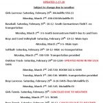 Spring practice- first two days- updated due to weather 2-27-20